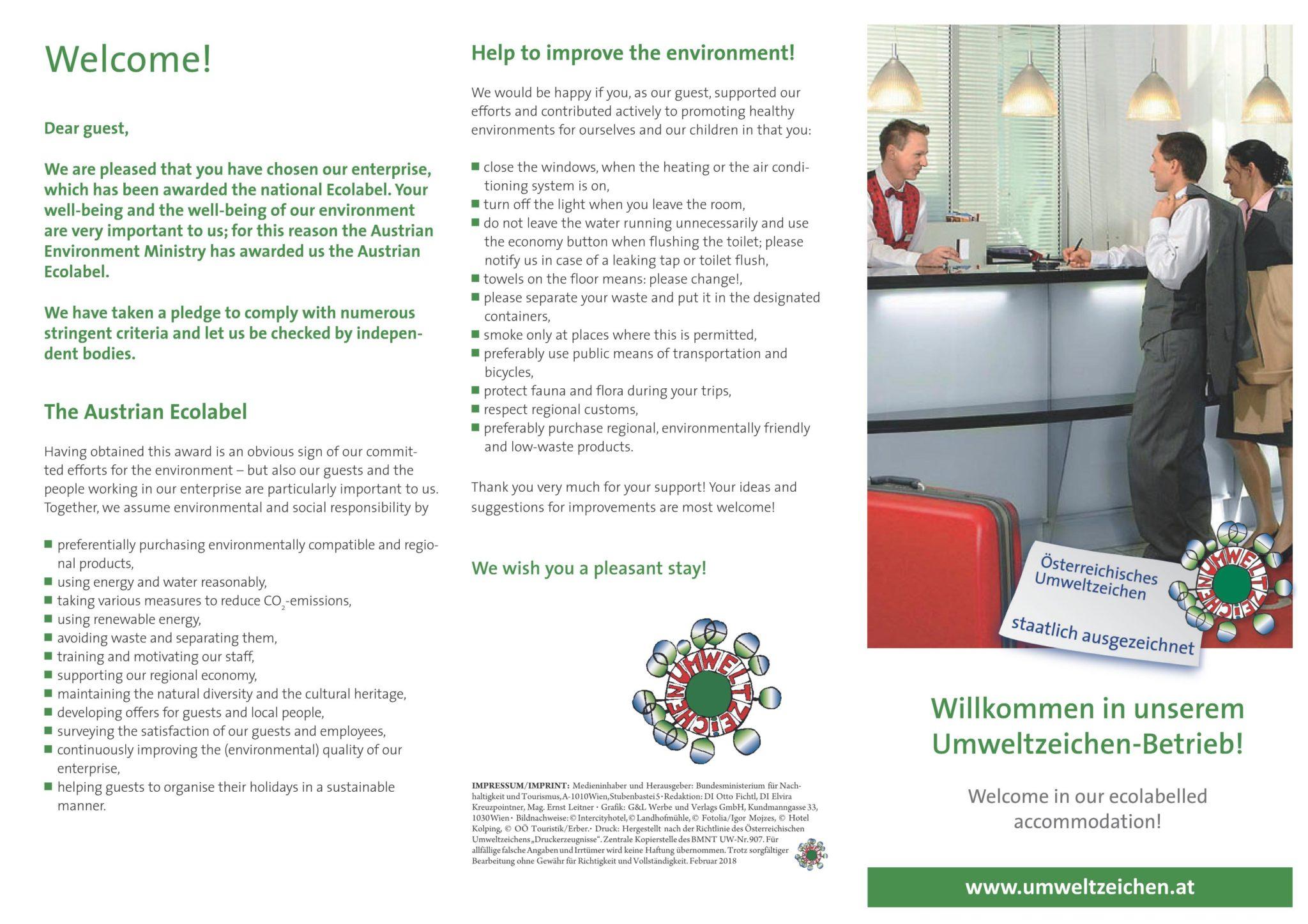 Welcome Umweltzeichen Zimmer Gesäuse Privatzimmer Gassner Ferienwohnungen Nationalpark Gesäuse